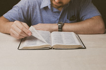 Man reading the Bible.