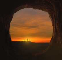 view of Calvary from the empty tomb