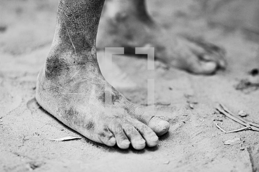 bare feet in the soil