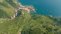 aerial view over a coastline and resort
