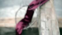 purple shroud, crown of thorns on a cross