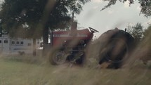 a tractor on a farm