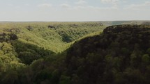 aerial view over a green forest and canyon below