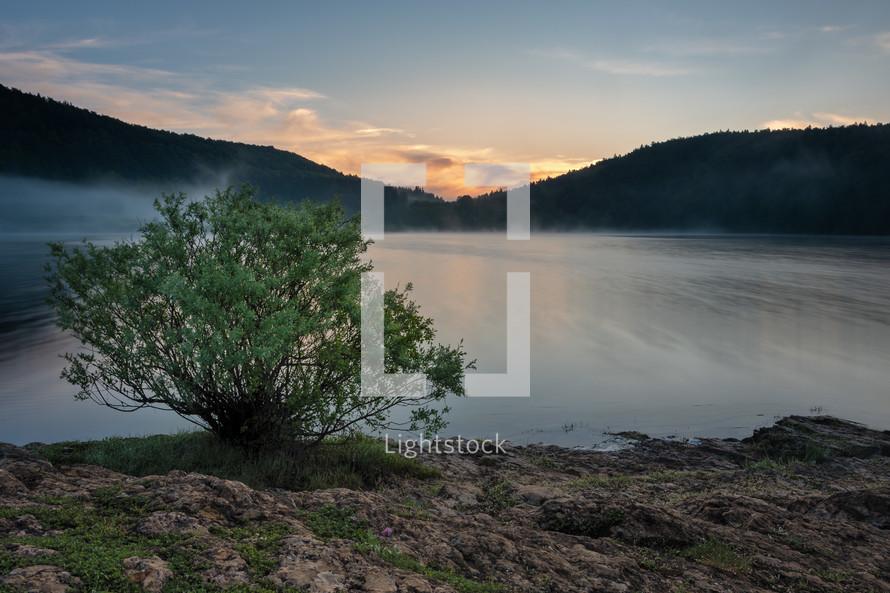 steam over a lake at sunrise