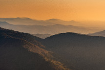 warm sunlight over mountains