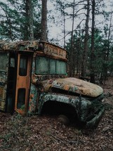 abandoned rusted out school bus