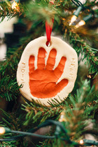 handprint Christmas ornament keepsake