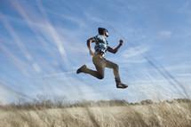 a man jumping in midair