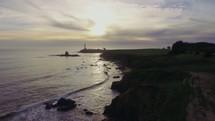 a lighthouse and coastline