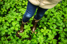 A young girl in rain boots standing in green plants.