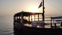 floating boat on the sea of Galilee