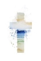 watercolor painted cross