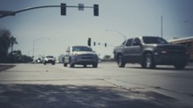 Traffic passing through an intersection.