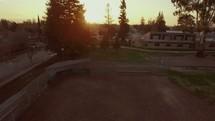 Aerial | Ascending | Baseball Field | Sunset | Skyline | City | World | Neighborhood | Streets