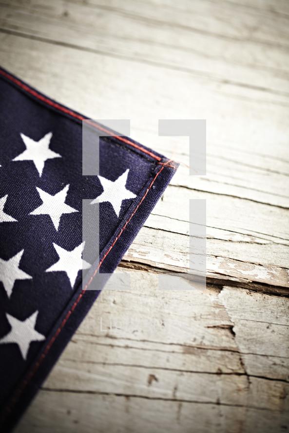 A closeup of an American flag