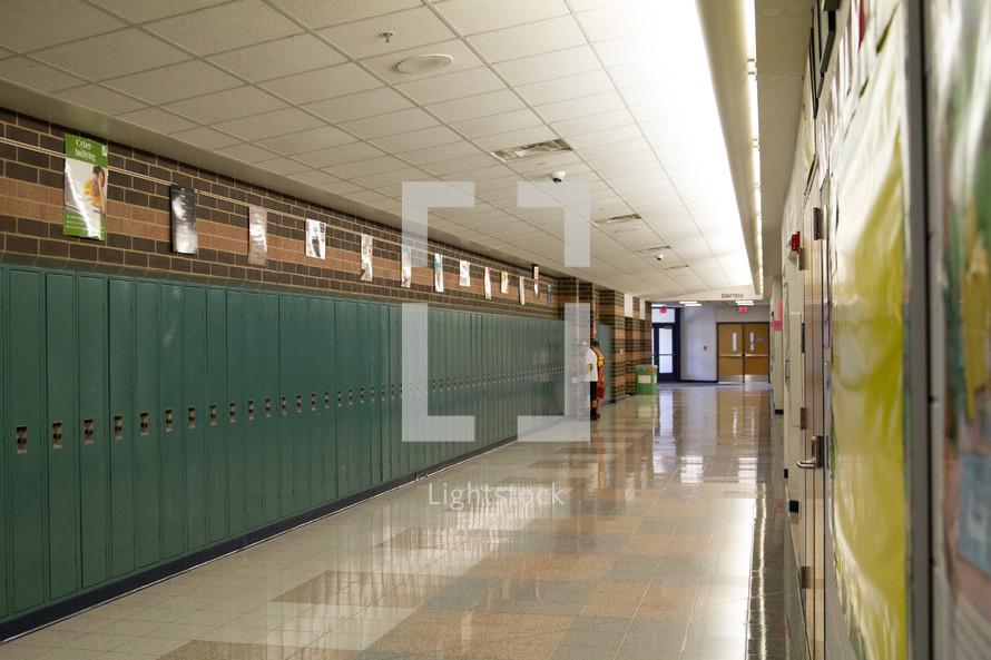 high school hallway with lockers