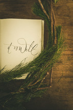 """Evergreen boughs and a note reading, """"it is well."""""""