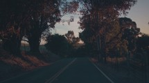 road trip, driving down a rural road in fall