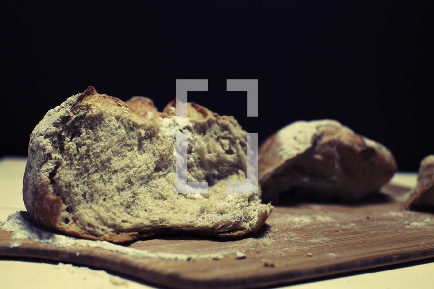 Chunks of fresh bread