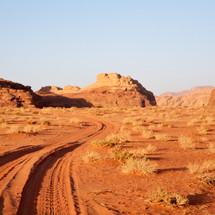 tire tracks in a desert landscape