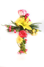 Cross made out of flowers