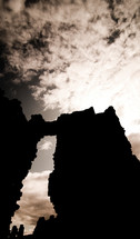 silhouette of a wall from castle ruins