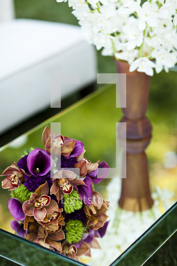 Flower bouquets on glass table purple, brown, green, lounge, floral