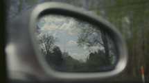 view in a rearview mirror