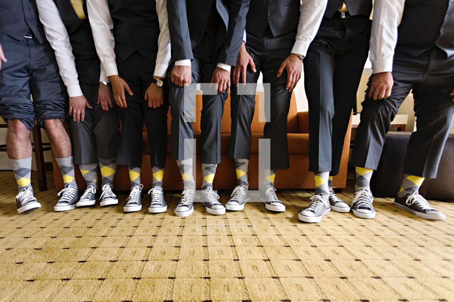 argyle socks on groomsmen  grey and yellow
