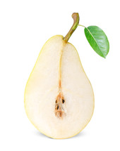 half ripe pear isolated on white background