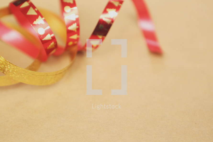 Red and gold Christmas ribbon.