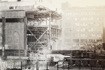 a downtown building being demolished