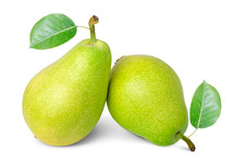 ripe pears with leafs isolated on white background
