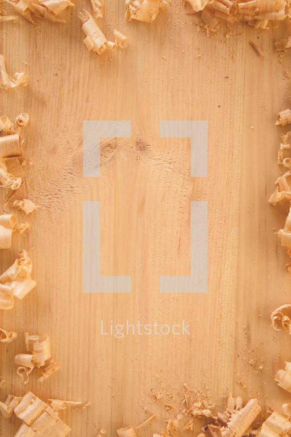 wood shavings in a border