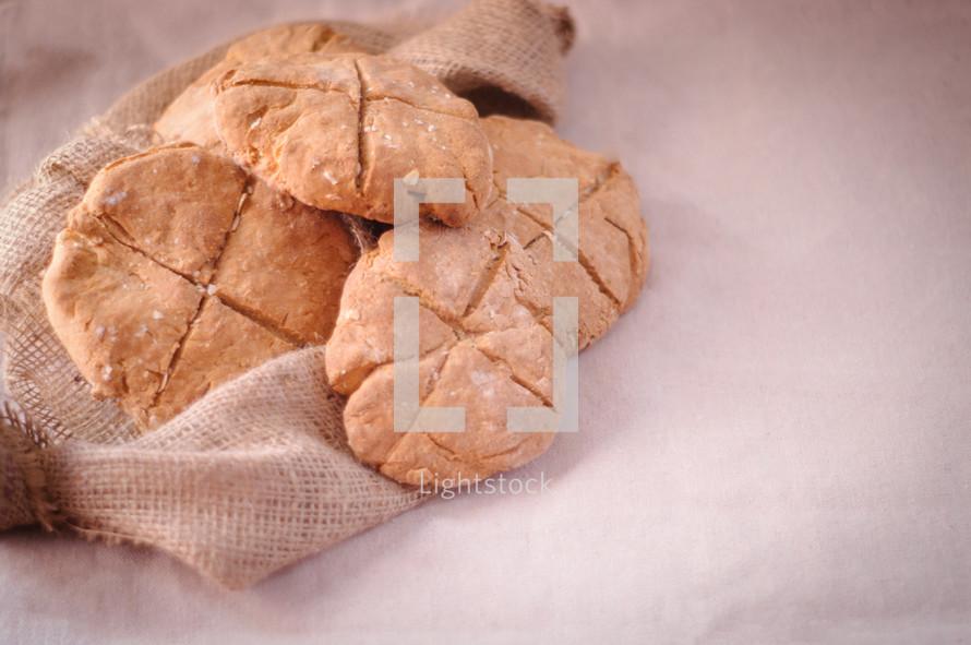 Bread on burlap