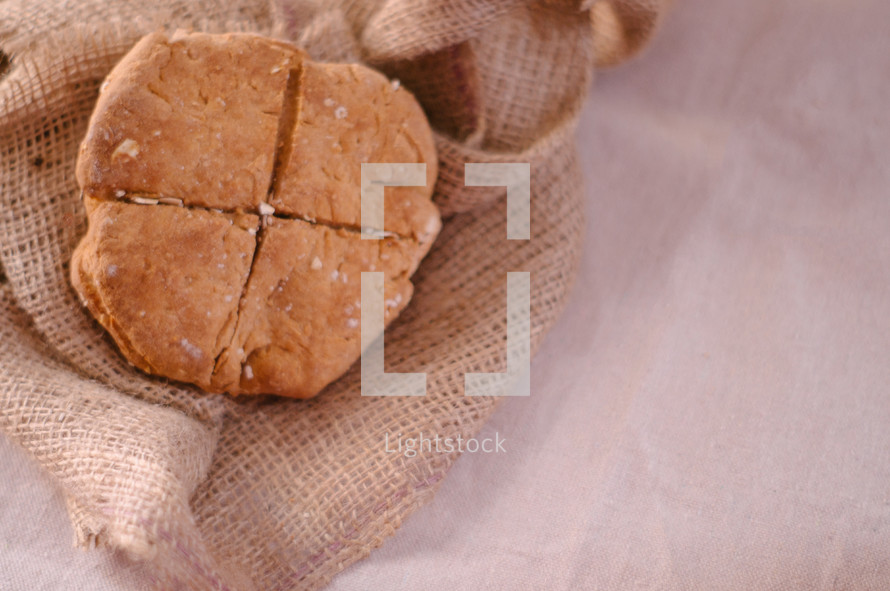 Bread on burlap