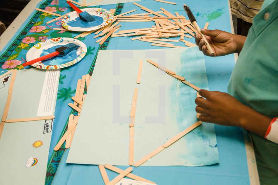 arts and crafts, building Noah's boat at VBS
