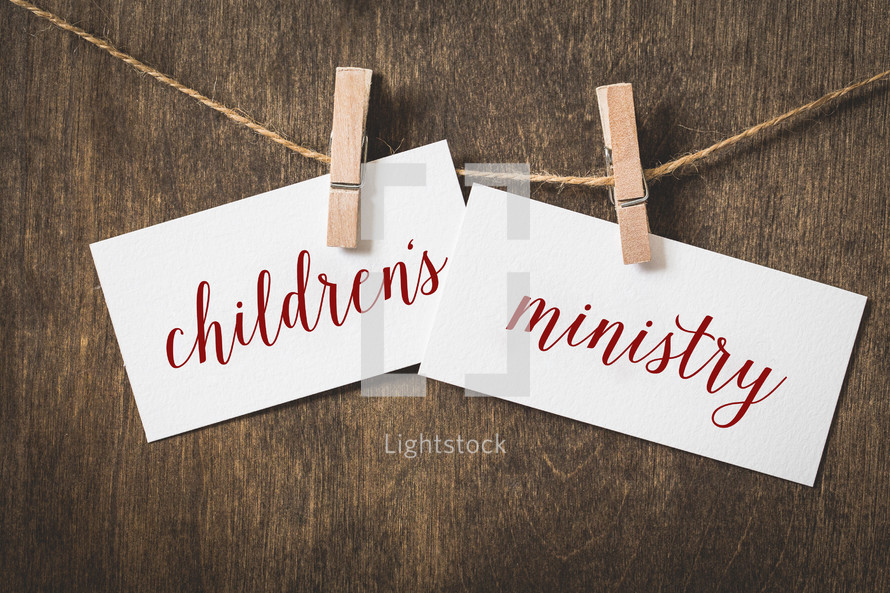 word children's ministry hanging on a clothesline