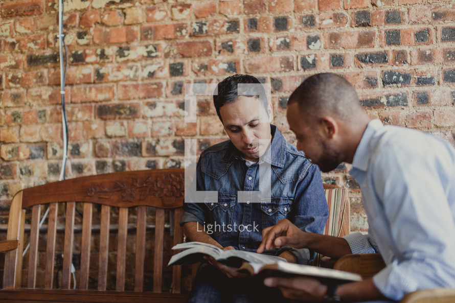 men's group reading Bibles