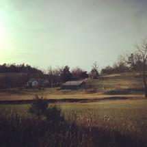 rural farmhouse and barn