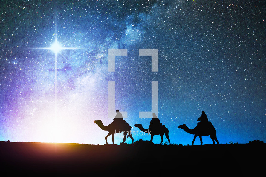 Wisemen following the star of Bethlehem
