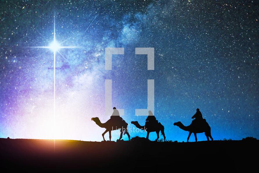 Wisemen following the star of Bethlehem