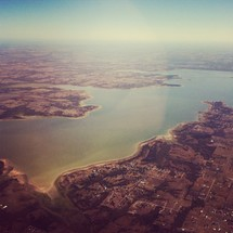 aerial view of a large lake