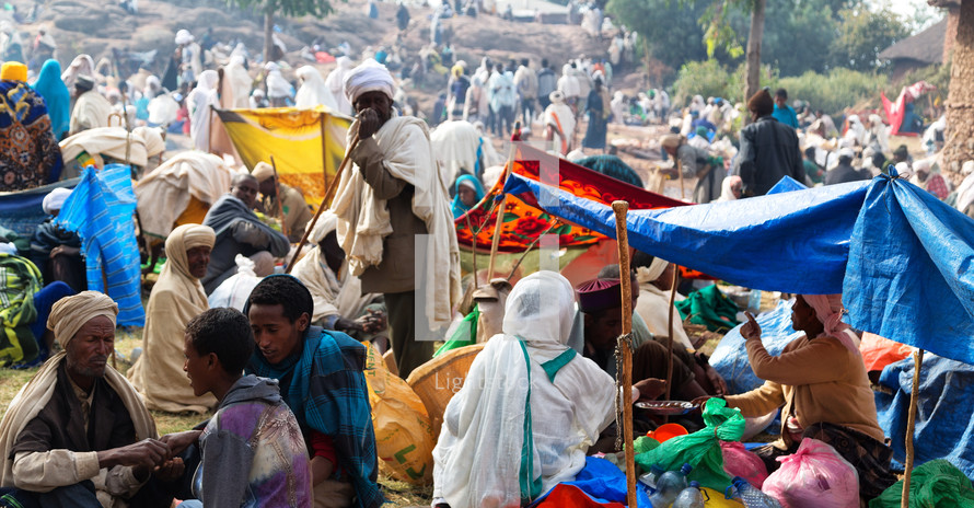 crowds of people in a market in Ethiopia