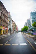A really cool perspective shot of an empty street in Poland.