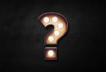 question mark made of lightbulbs.