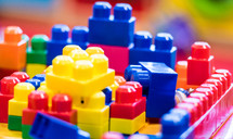 Colorful plastic toy blocks.