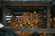 covered stacked logs for firewood