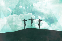 Crucifixion Silhouette Three Crosses Easter Sunday on Abstract Sky Clouds Light Grunge Distress Background