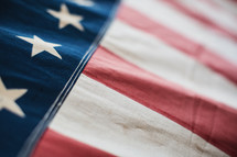closeup of an old American flag.